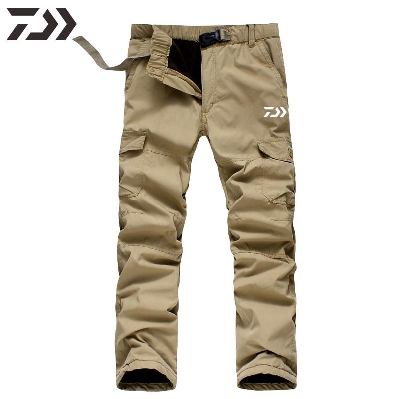 Daiwa Pants Men Fishing Pants Winter Thermal Solid Multi-pocket Cotton Casual Trousers Sport Loose P