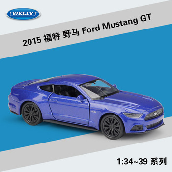 Welly 1:36 2015 Ford Mustang GT alloy car model pull-back vehicle Collect gifts Non-remote control type transport toy welly 1 36 hyundai santafe suv alloy car model pull back vehicle collect gifts non remote control type transport toy