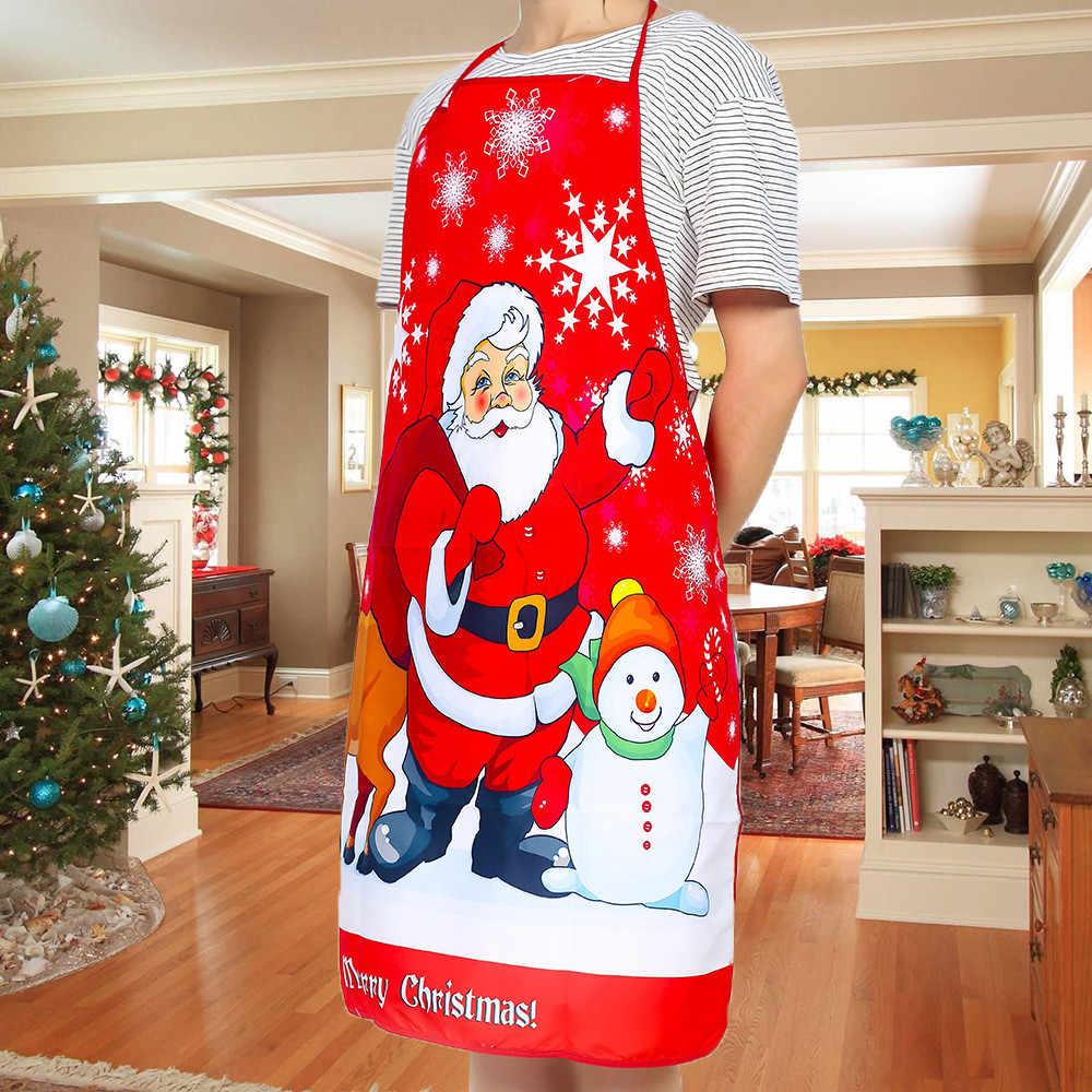 Vrolijk Kerstfeest Schort Herten Sneeuwpop Afdrukken Kerst Schort Big Pocket Keuken Bakken Restaurant Bib Schort Dropship