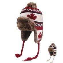 Женские шапки бомберы зимние для женщин шерстяные с узором в