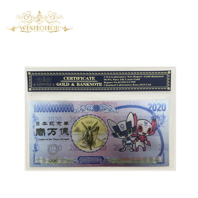 New Products For Japan Tokyo 2020 Olympic Gold Banknote in 24 Gold Plated World Currency Bill Note Fake Money with Plastic Case
