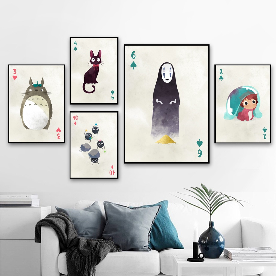 Ghibli Character Totoro Hayao Miyazaki Anime Movie Art Canvas Poster Home Wall Decor (No Frame) image