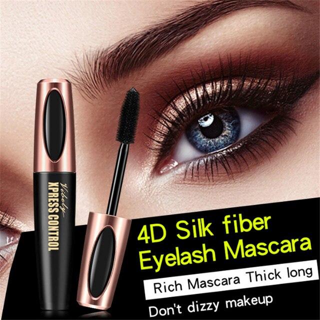 Waterproof 4D Silk Fiber Eyelash Thick Lengthening Black Mascara Fashion Sexy Makeup Cosmetics Eye Lash Extension Cream 3