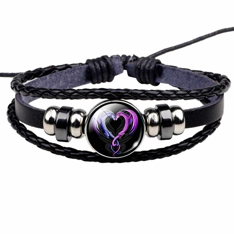 Zły smok zdjęcie skórzana bransoletka gotycka biżuteria czarne wielowarstwowe uroku bransoletki dla kobiet mężczyzn