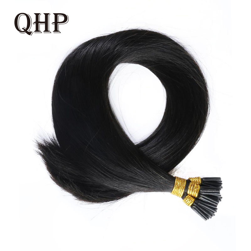 QHP Hair Straight Machine Made Remy Hair Extensions 0.8g/pcs 50pcs/ Set Straight Keratin I Tip Human Hair