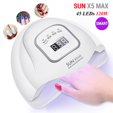 SUN X5 Max 120W UV LED Nail Lamp 45 LEDs Smart Nail Dryer Lamps with Sensor LCD Display for Curing Nail Gel Polish Manicure Tool