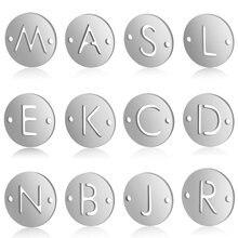 5 pçs/lote 100% aço inoxidável nome inicial encantos vnistar diy alfabeto encantos 26 carta fazendo encantos para pulseiras por atacado