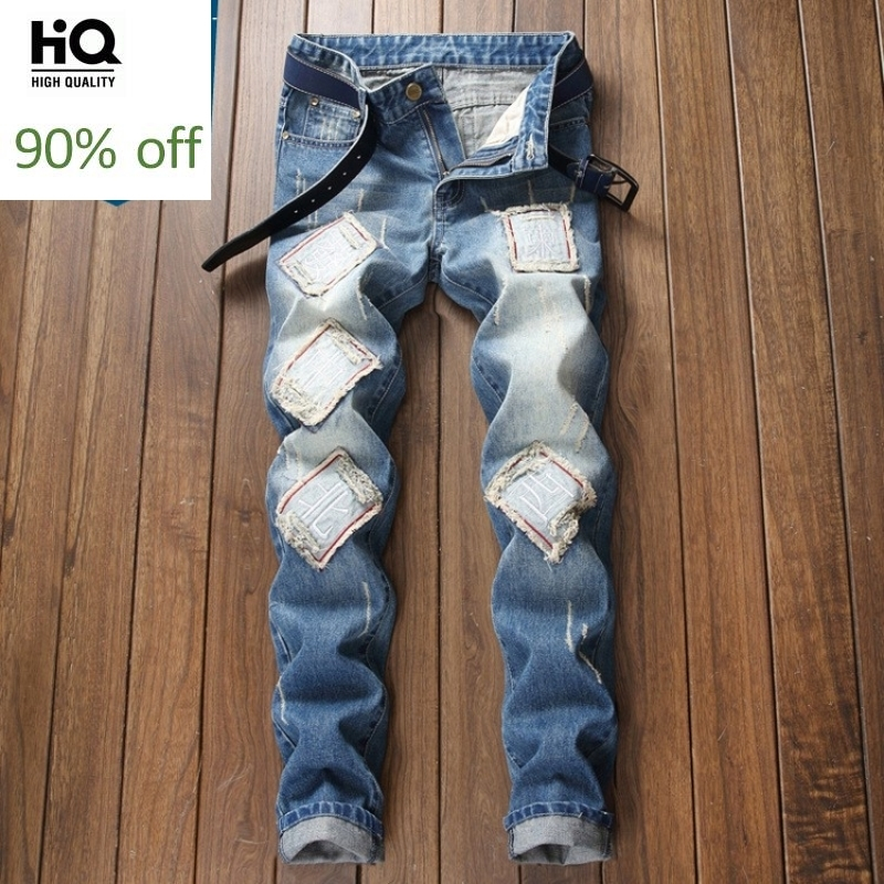 New Mens Jeans American Slim Fit Straight Zipper Embroidery Denim Hip Hop Pants Male Vintage Ripped Washed Trousers Plus Size 40