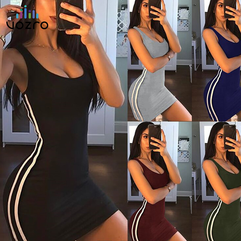 VOZRO Stripe Sexy Package Buttocks Vest Leisure Time Suit-dress Summer Party Red Dress Women 2019 Vestido Dresses Clothes Befree
