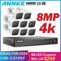 ANNKE 4K HD ультра прозрачная 8CH видео система безопасности H.265 + DVR с 4X8 Мп ИК Открытый всепогодный CCTV камера видеонаблюдения комплект