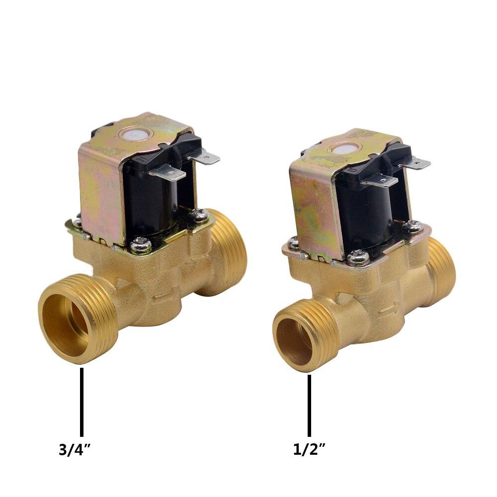 """3/4 """"1/2"""" DC 24V AC 220V DC12V Электрический электромагнитный клапан нормально закрытый латунный для управления водой Клапан      АлиЭкспресс"""