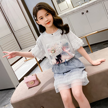 Baby Kids Girl Summer Clothing Suit 2020 Cute Lace Sleeved T-shirt + Denim Skirt 2Pcs Girls Clothes Set Children Fashion Outfits girls clothes set 2018 spring autumn girls t shirt and skirt pants 2pcs outfits kids clothes fashion suit for children clothing