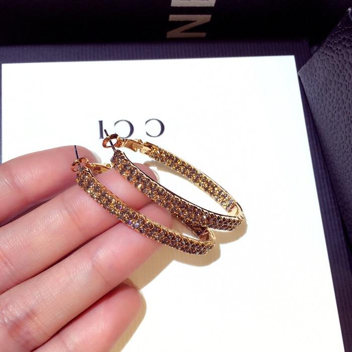 New fashion Korean large water drill earrings women rhinestone hoop boho african earrings luxury indian jewelry in Drop Earrings from Jewelry Accessories