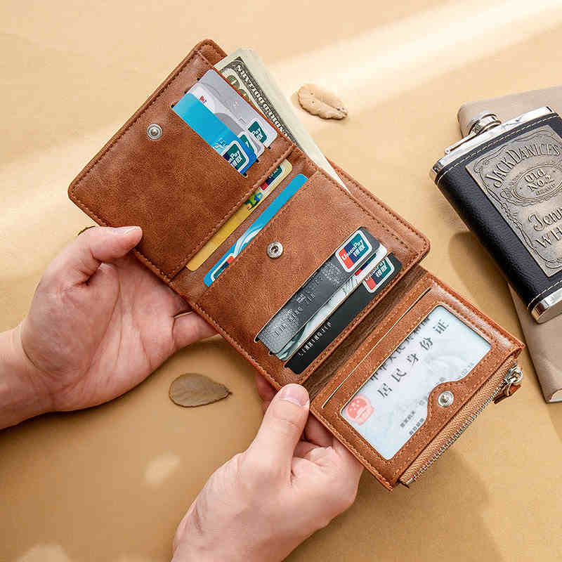 Men's Wallet Casual Short Three Fold Small Wallet Luxury Portefeuille Homme New Leather Male Wallets Card Holder Coin Money Bag
