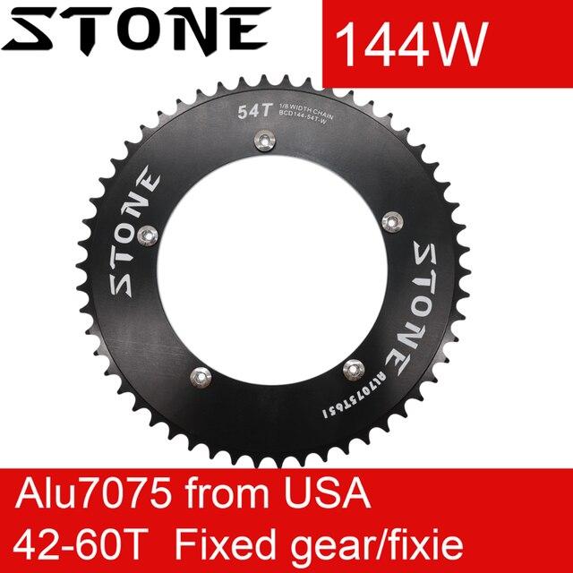 Stone Chainring 144 BCD do toru rower z ostrym kołem fixie 42/44/46/48/50/52/54/56/58/60T kolarstwo 144BCD płytka zębata koła łańcuchowego