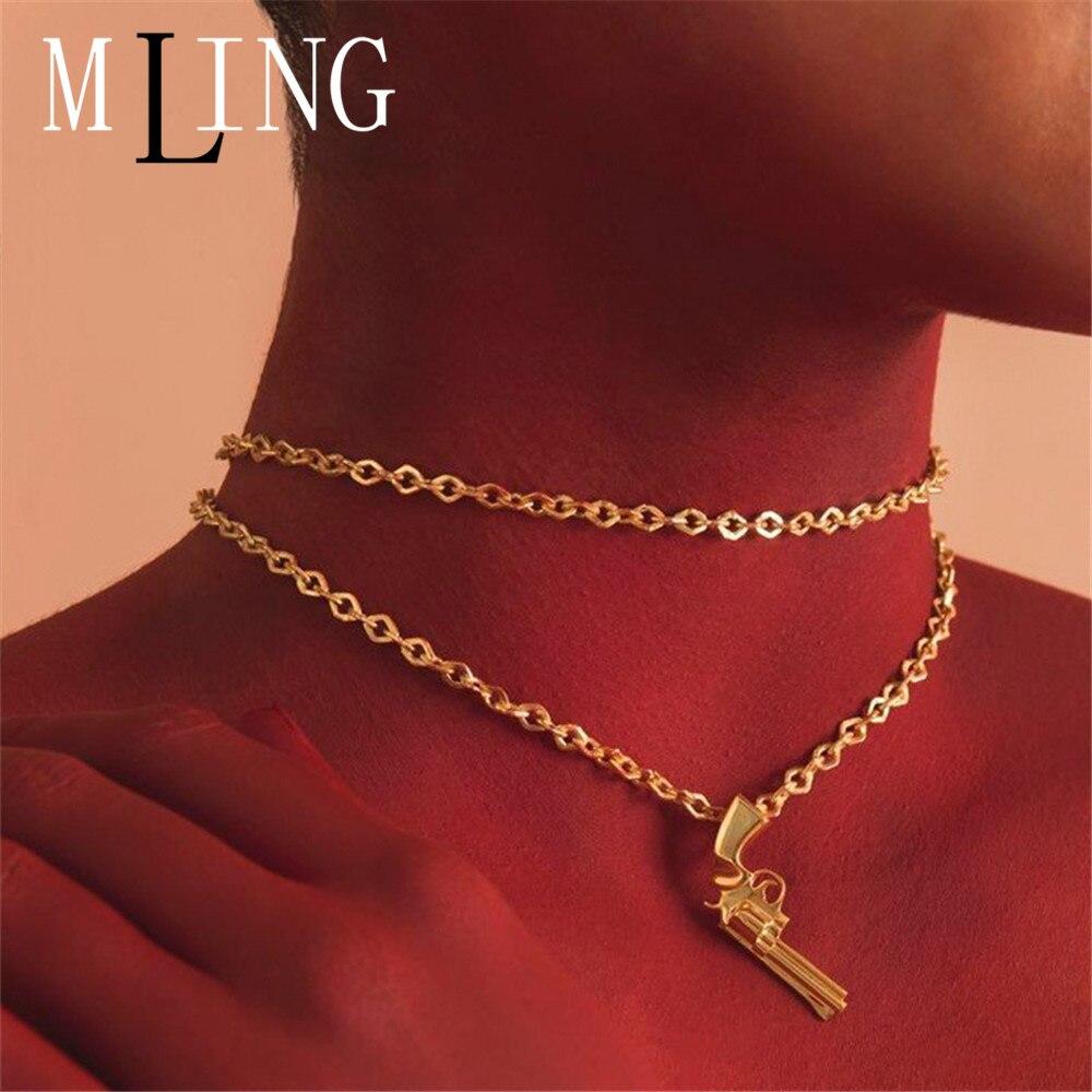 Mling mais novo ouro dupla camada gargantilha colar gótico pistola pingente colar para mulher