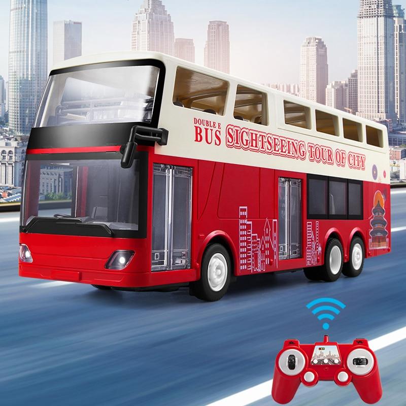 Double E E640 1:18 Simulation Remote Control Double layer Bus Realistic Sound and Light RC City Bus Car Toys