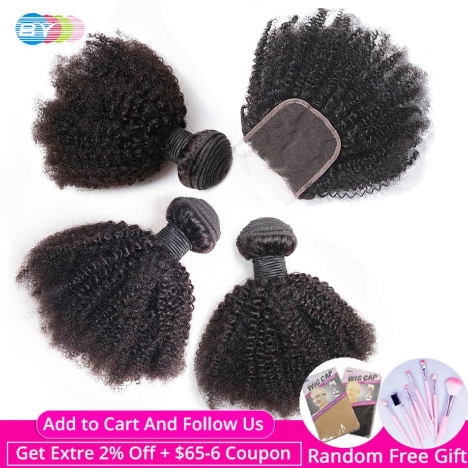 Brazilian Afro Kinky Curly Bundles with Closure human hair bundles with closure Non Remy Hair Extension BY Hair Weave Bundles