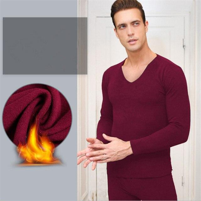 Mise à jour double face velours hommes col en v thermique sous-vêtements costume température constante chauffage fiber sous-vêtements vêtements et pantalons