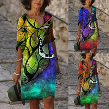 Hot Sale Fashion and Elegant Abstract Printing Mid-Sleeve V-Neck Ladies Summer Dress Casual Loose Plus Size A-Line Skirt