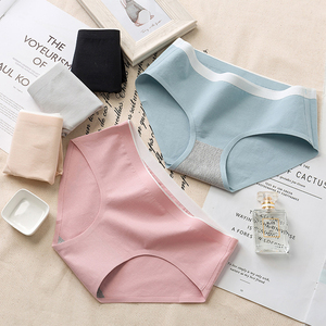 Image 2 - New mid waist womens solid color non mark antibacterial panties breathable cotton briefs ladies underwear hot sale