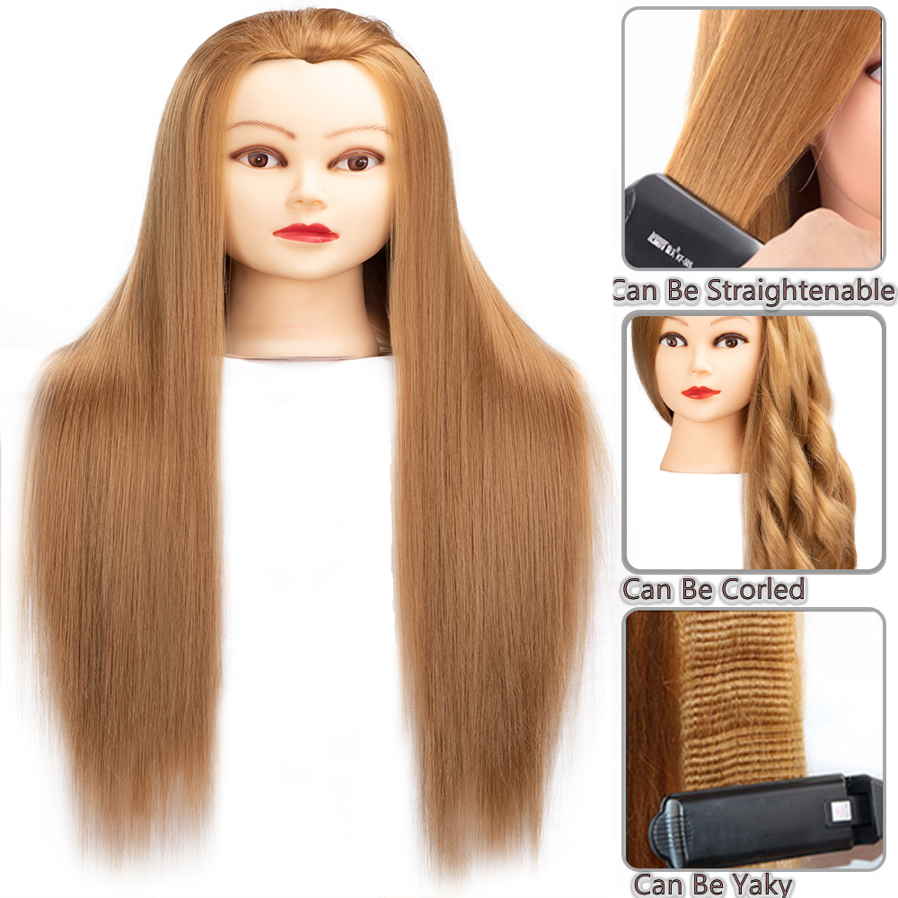 Dolls Head with 65cm high quality Synthetic Hair Mannequin Head FOR Hairdressers Hairstyles Hairdressing Styling Training Head