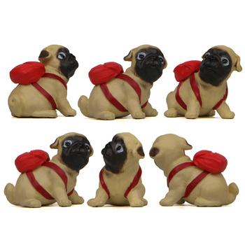 Śliczny mops pies z plecakiem model Creme terrier ręce kreatywne pieczenie ogrodnictwo figurki dekoracja wnętrz artykuły wyposażenia wnętrz prezent tanie i dobre opinie MEMOSTO Żywica Zwierząt Sztuczne