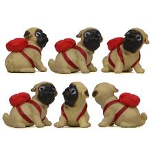 Śliczny mops pies z plecakiem model Creme terrier ręce kreatywne pieczenie ogrodnictwo figurki dekoracja wnętrz artykuły wyposażenia wnętrz prezent tanie tanio MEMOSTO Żywica Zwierząt Sztuczne