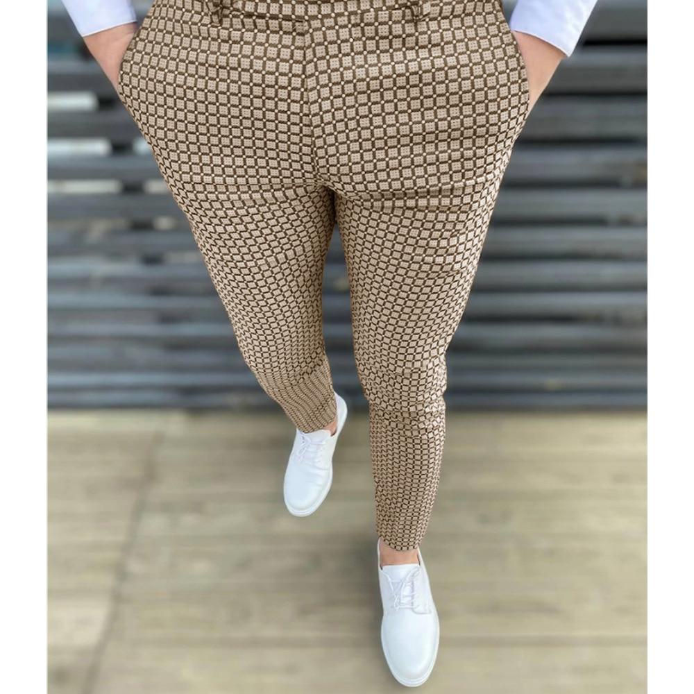 New Plaid Spot Pants For Men Fashion Business Casual Long Trousers Men Suit Pants Wedding Party Dress Social Clothing Breathable