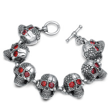 925 Sterling Silver Jewelry Men Women Inlaid natural stone Chain Bracelet Bangle Punk Skull Charm Bracelet
