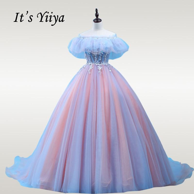 It's YiiYa Wedding Dress Ruffles Beading Crystal Plus Size Wedding Ball Gowns Off Shoulder Train Colorful Robe De Mariee CH175