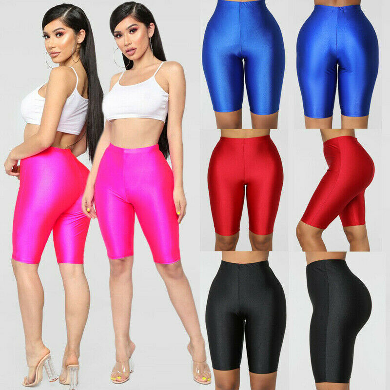 Summer Women Sports High Waist Elastic CyCling Shorts Gym Biker Active Short Pants Seamless Solid Fitness Shorts