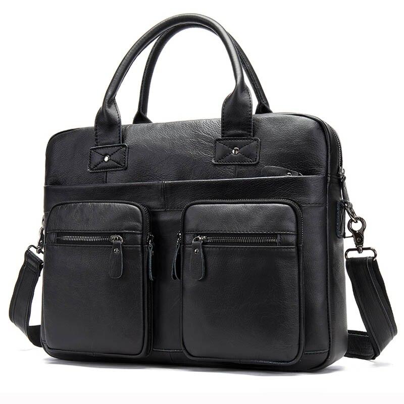 Luufan Men's Genuine Leather Bag Men's Briefcase Office Bags For Men Business Handbag Men Porte Document Leather Laptop Bag