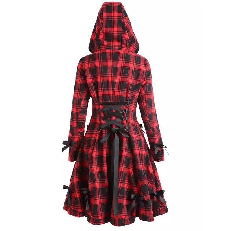 Wipalo Autumn Winter Gothic Trench Coat Vintage Red Black Plaid Back Drawstring Waist Long Overcoat Hooded Single Breasted Coats