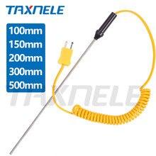 K tipo controlador de temperatura do sensor 100mm 300mm 500mm da ponta de prova do par termoeléctrico-50c a 1200 com cabo para o termômetro de digitas tp02