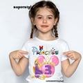 Детская футболка для девочек на день рождения номер 1-9 Футболка с принтом принцессы Лето 2021 Милая одежда для маленьких девочек DHKP456