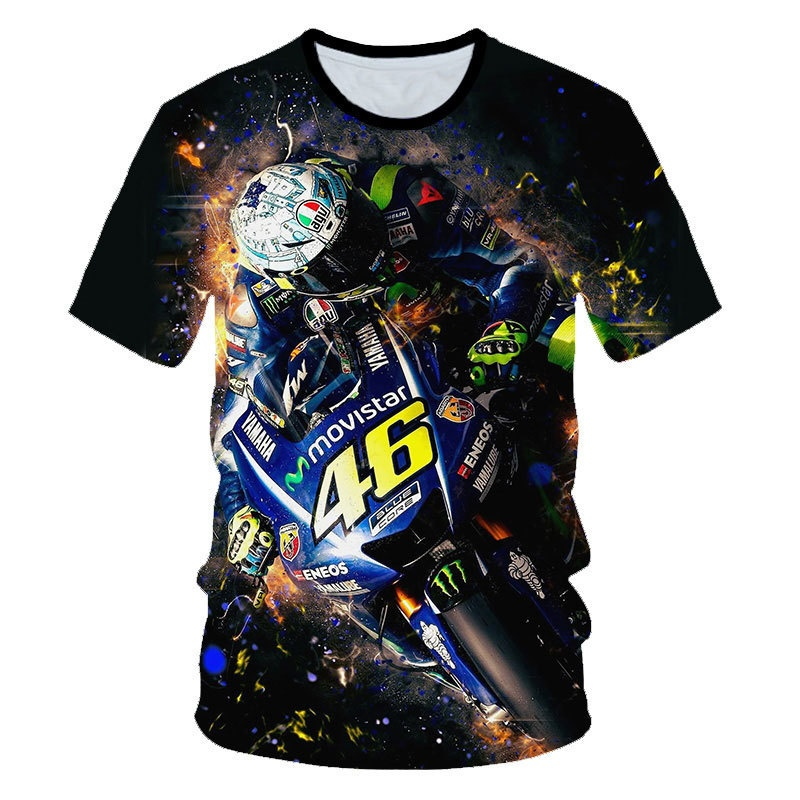 New Round Neck Short Sleeve VR46 Mountain Downhill Suit Male Off-road Motorcycle Racing 3D Digital Printed Short Sleeve T-shirt