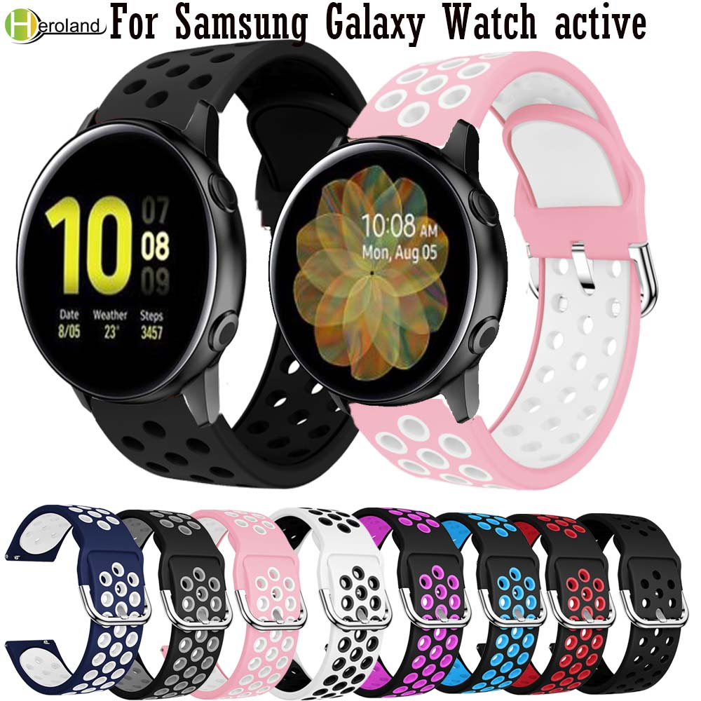 Sport Silicone 20mm Watchband Strap For Samsung Galaxy Watch Active 2 40mm 44mm Smart Wristbands For Huami Amazfit GTR 42mm Belt