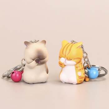 Cute Shy Cat Car Keychains Chubby Kitten Keyring Trinket Bag Ornament Cartoon Car Keys ring Car Accessories image