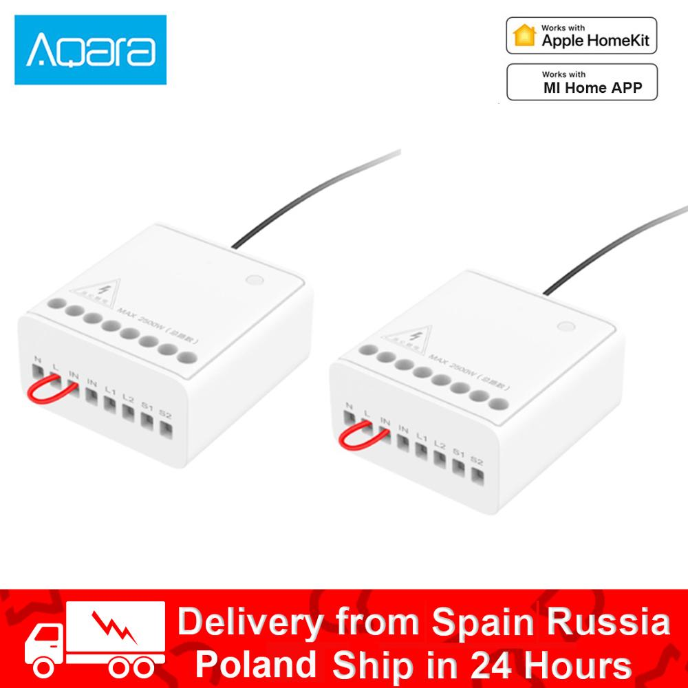 Aqara Two-way Control Relay Module Wireless Relay Switch Controller Smart Timer 2 Channels Work For Apple Homekit Mihome APP