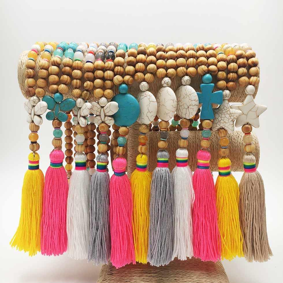 Nuevo colorido collar con colgantes y borla Multi-forma piedra cuentas de madera joyas collar de declaración regalo para las mujeres hermosas