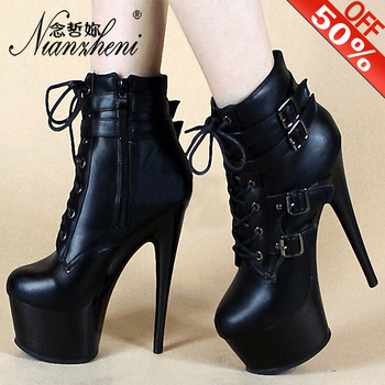 Winter Sexy Shoes Vestidos De Fiesta De Noc Women Boots 15cm Ankle Boots Round Toe Buckle Ankle Strap Black 6Inch High Heels New