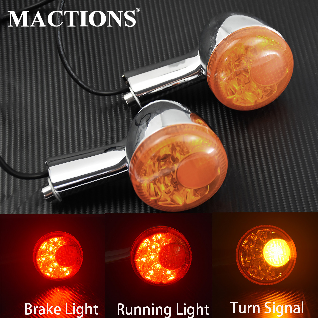 Motorcycle Amber Rear Turn Signal LED Indicator Light Brake Light Taillight Case For Harley Sportster 883 1200 XL 1992-14 15 16