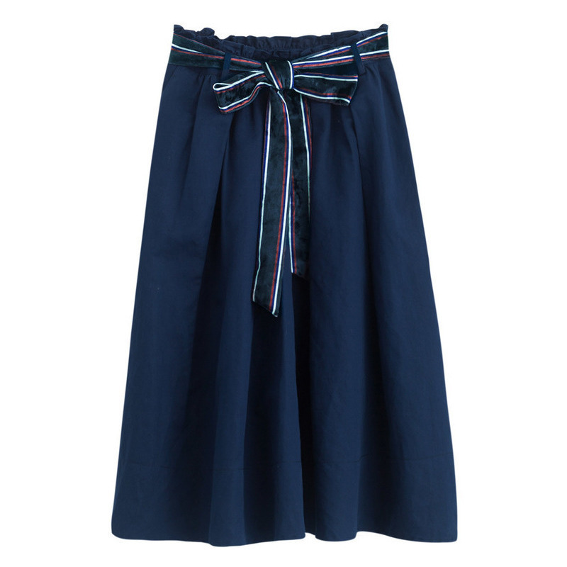 INMAN Women A Line Special Color Belt Knee-Length Cotton Lady Skirt