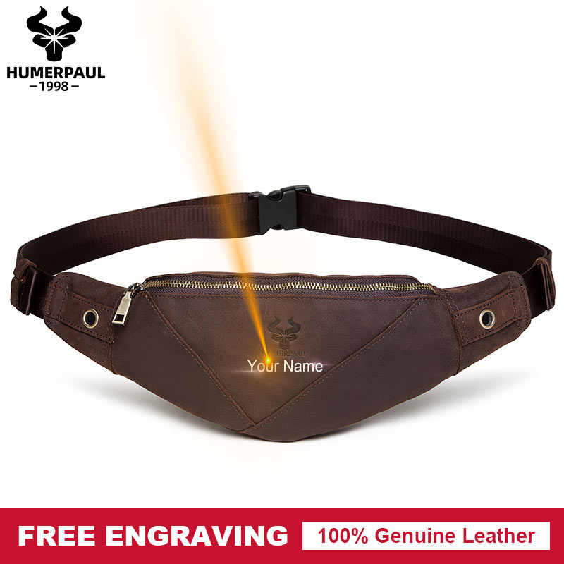 Free Engrave 100% Genuine Leather Men Waist Bag Fashion Crossbody Chest Fanny Pack Male Holder Pouch Purse Messenger Bag