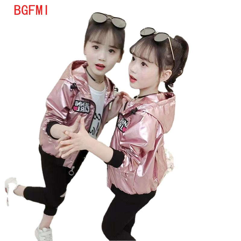 Fashion Shiny Girl's Bomber Jacket New Spring Fall Embroidered Baseball Jacket Girl Kids Outerwear Tops Outfits Windbreaker Coat