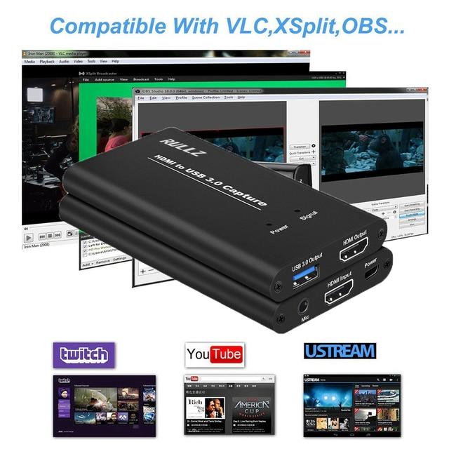1080P 60fps HD Cámara juego grabación HDMI a USB Tarjeta de captura de vídeo caja para Mac Winodws OBS transmisión en vivo + Mic entrada salida de TV