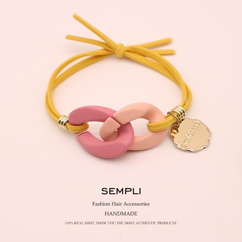 Sempli High Elasticity Elastic Hair Bands For Women Special Colored Chain Gold Pendant Scrunchies Para El Cabello Accessories