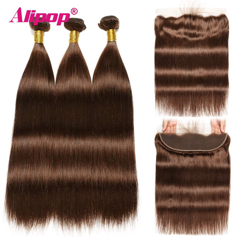 #4 Light Brown Straight Hair Bundles With Closure Brazilian Human Hair 3 Bundles With Frontal Ear To Ear Alipop NonRemy 4PCS