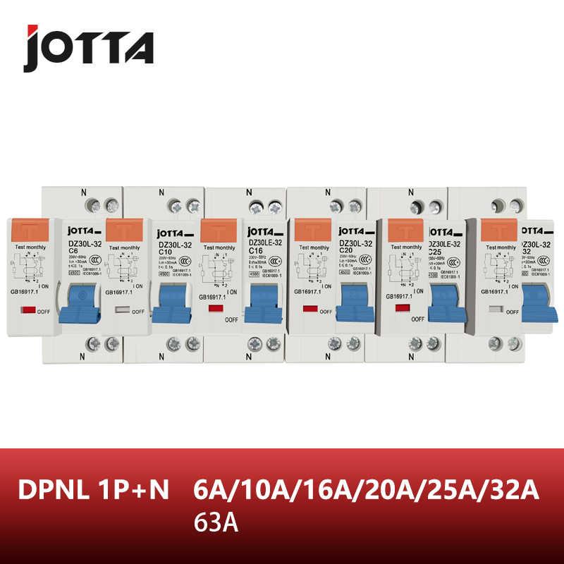 DPNL 1P + N 16A/20A/25A/32A/63A 230V ~ 50HZ/60HZ wyłącznik różnicowo-prądowy z zabezpieczeniem nadprądowym i przeciekowym RCBO
